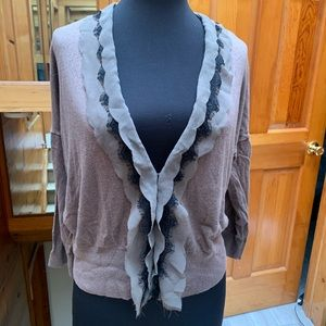Loft Taupe Cardigan with Black Scallop Trim